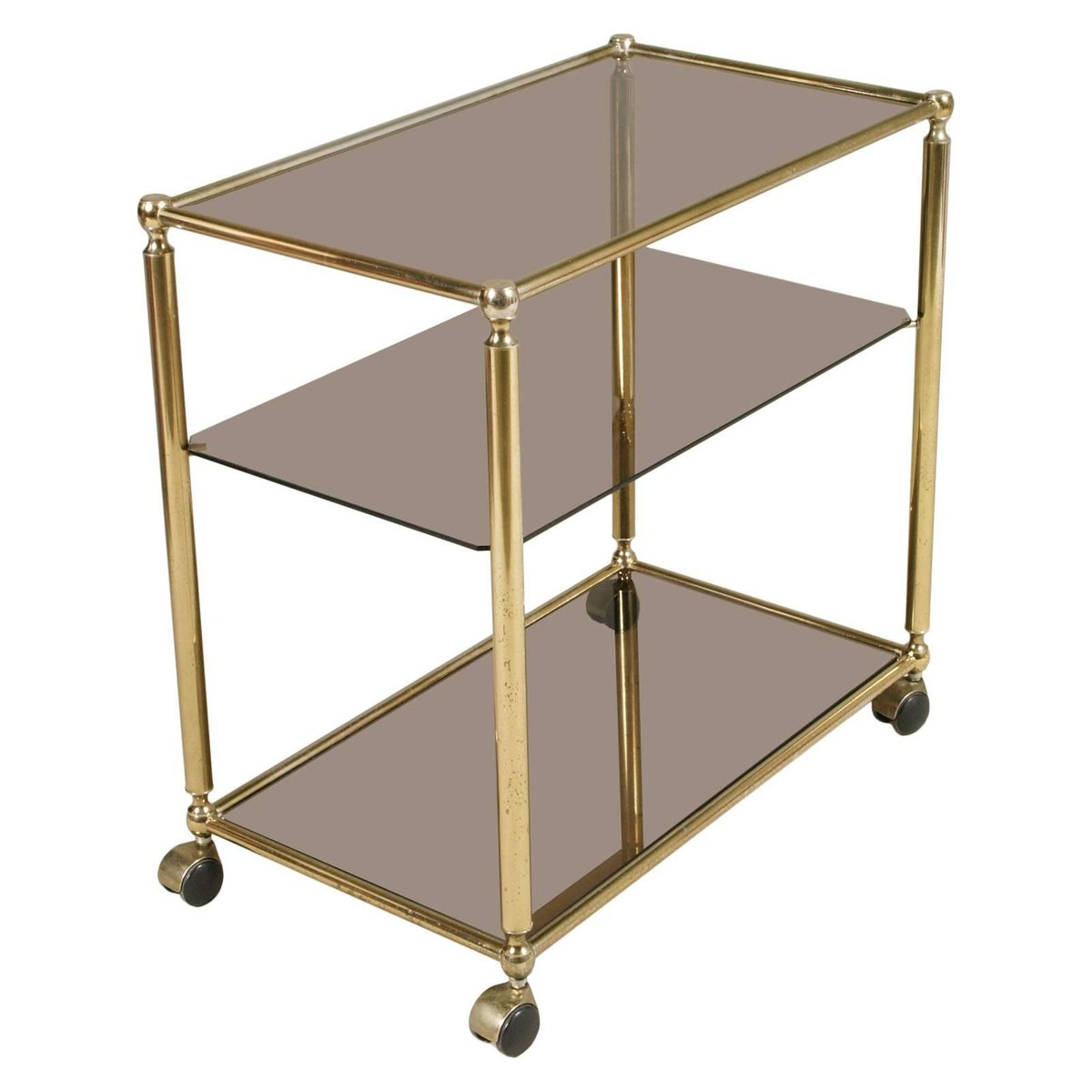 brass bar cart with three shelves in crystal fum 1970s. Black Bedroom Furniture Sets. Home Design Ideas