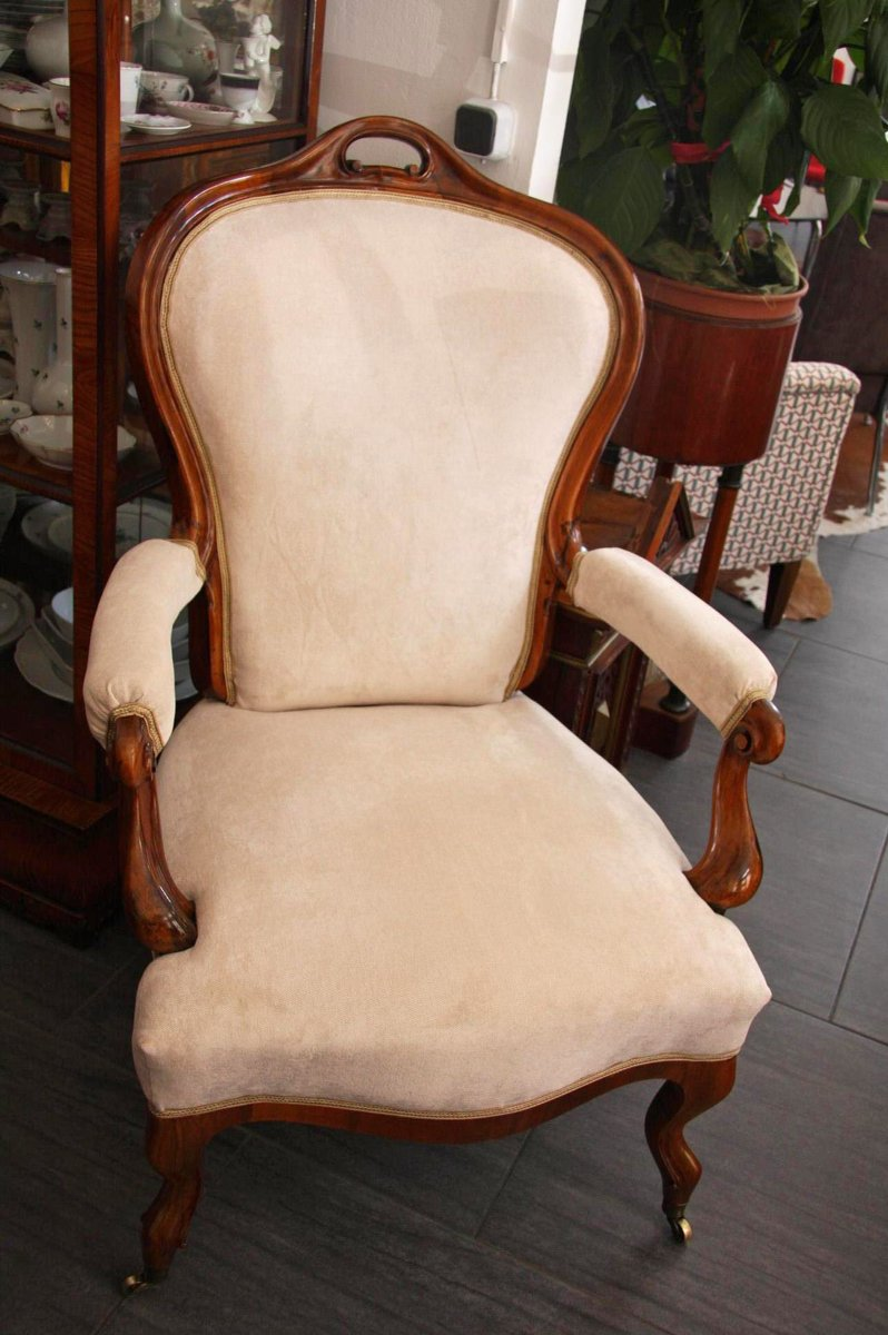 Antiker biedermeier armlehnstuhl auf rollen bei pamono kaufen - Armlehnstuhl biedermeier ...