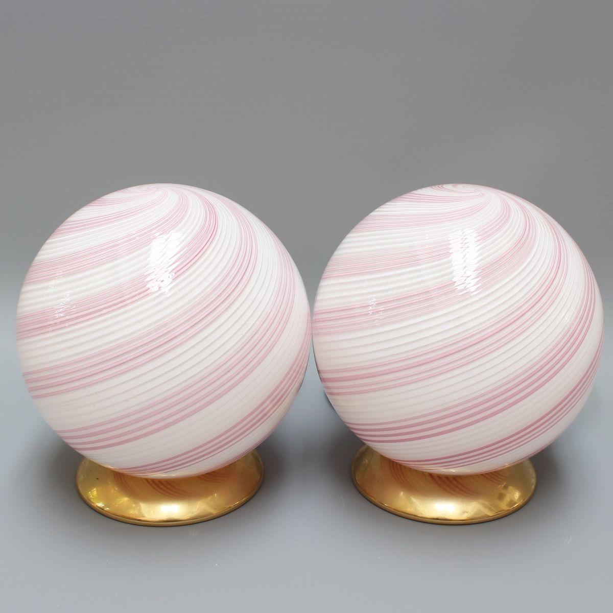 Rosa Murano Glas Tischlampen, 1960er, 2er Set