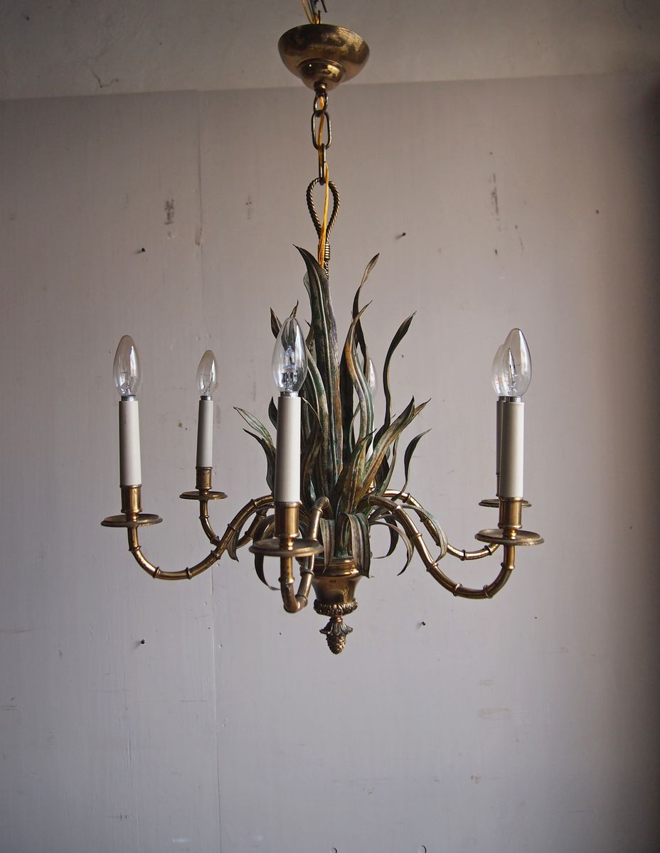 Faux bamboo chandelier 1963 for sale at pamono faux bamboo chandelier 1963 aloadofball Images