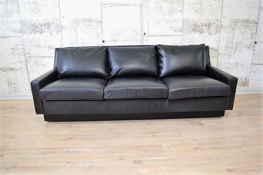 canap trois places mid century en cuir en vente sur pamono. Black Bedroom Furniture Sets. Home Design Ideas