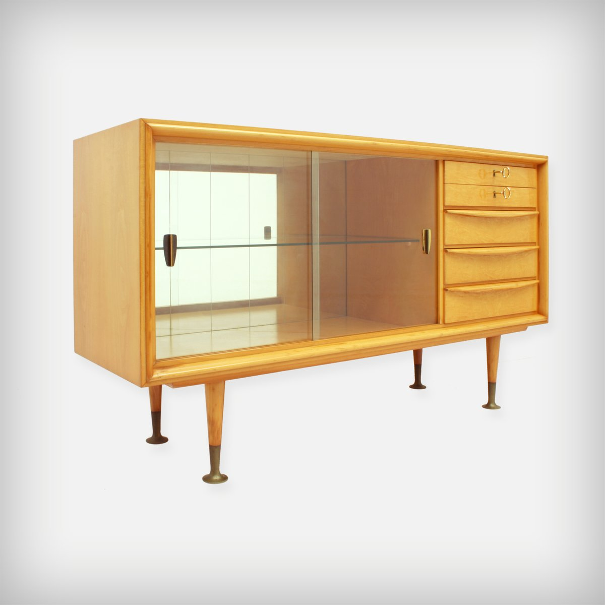 Small Cherrywood Sideboard With Gl Doors 1950s
