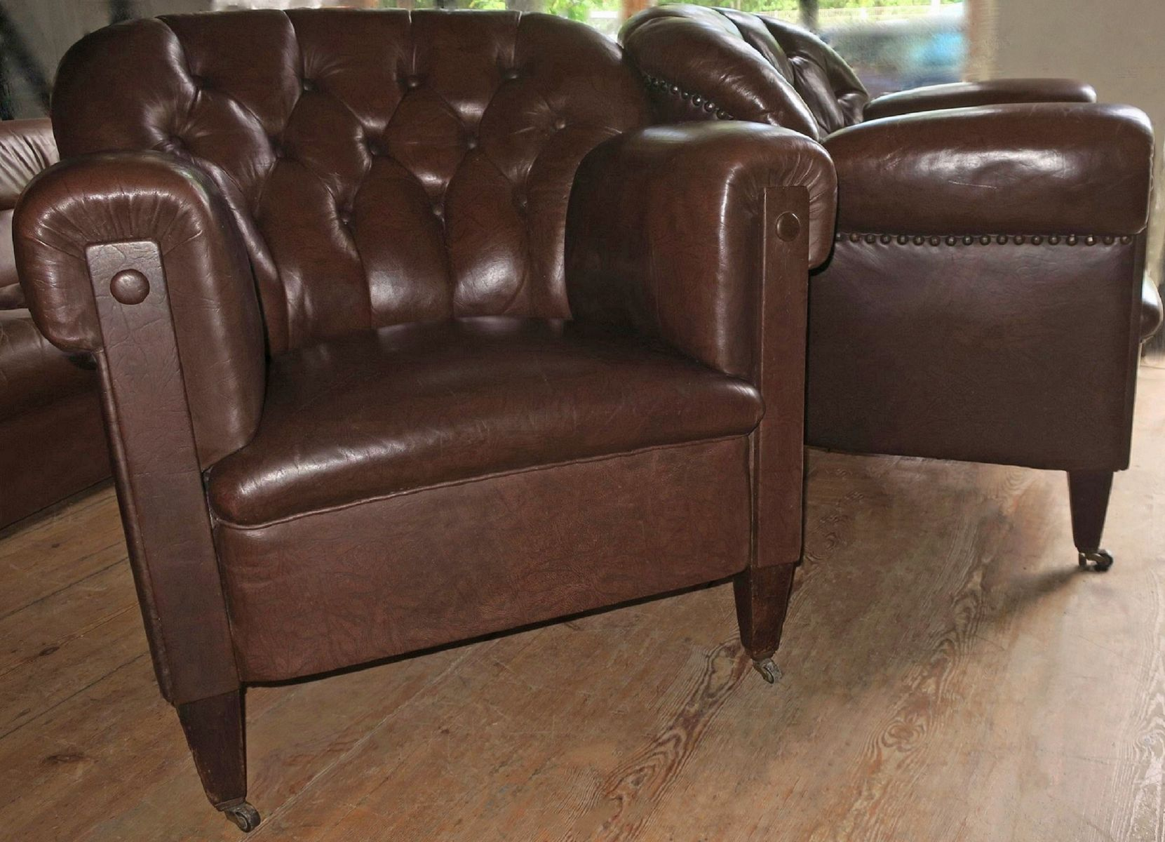Vintage Leather Club Chairs Set Of 2