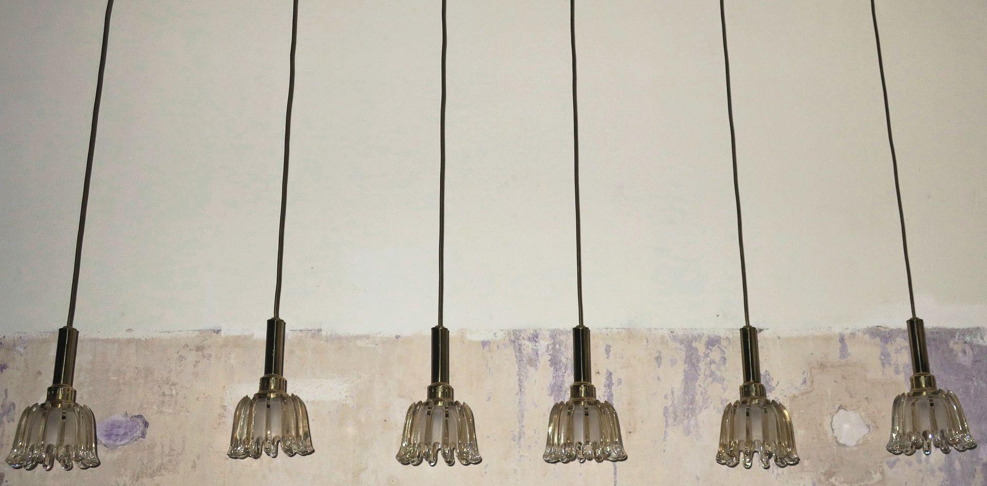 Tulip Glas Hängelampen von Doria Leuchten, 1960er, 6er Set
