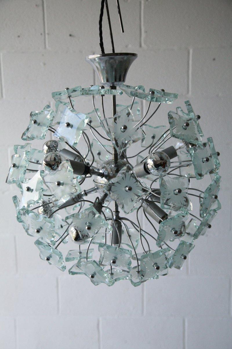 Glas Kronleuchter, 1960er