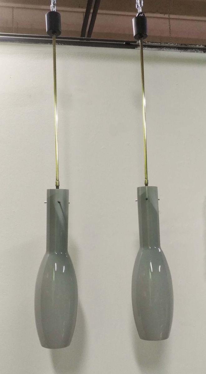 Graue Glas Hängeleuchten von Vistosi, 1950er, 2er Set
