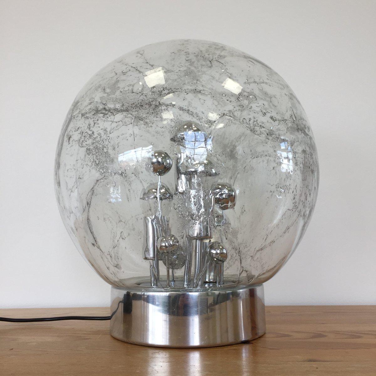 Große kugelförmige Space Age Tischlampe aus Chrom von Doria Leuchten, ...