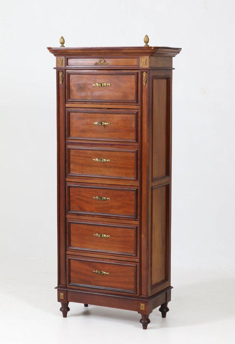 neoklassizistische mahagoni bronze kommode mit klappbarem schreibtisch 1890er bei pamono kaufen. Black Bedroom Furniture Sets. Home Design Ideas