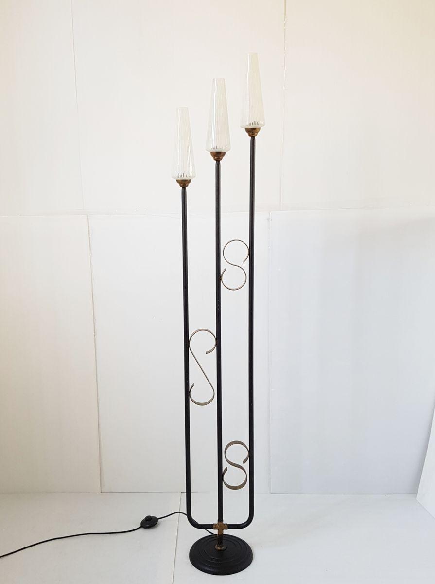 Französische Mid-Century Stahl & Glas Stehlampe, 1950er