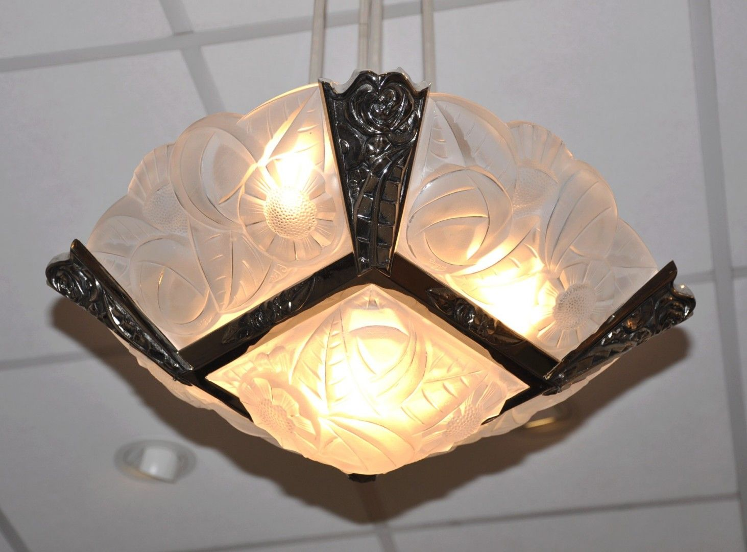 Art deco plaque chandelier by andr guron for degu for sale at pamono price per piece aloadofball Choice Image