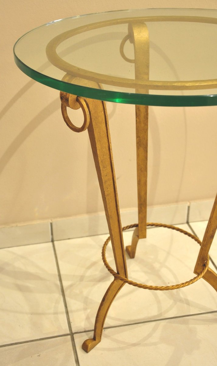 c4dfa2b8ac92 Gilt Wrought Iron Gueridon with a Glass Top from Ramsay