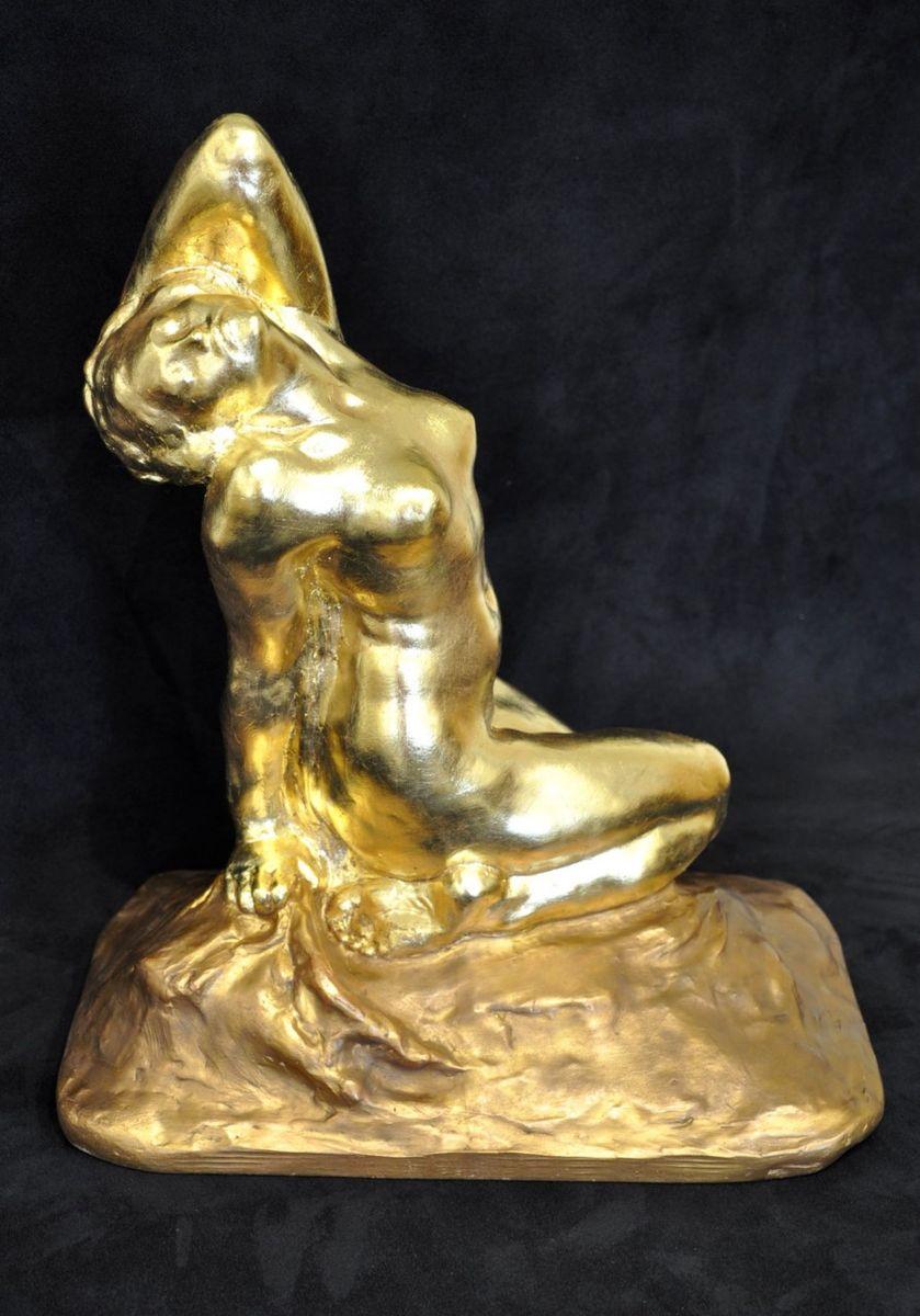 Art Deco Sculpture in Gilt Terracotta by Amedeo Gennarelli, 1930s ...