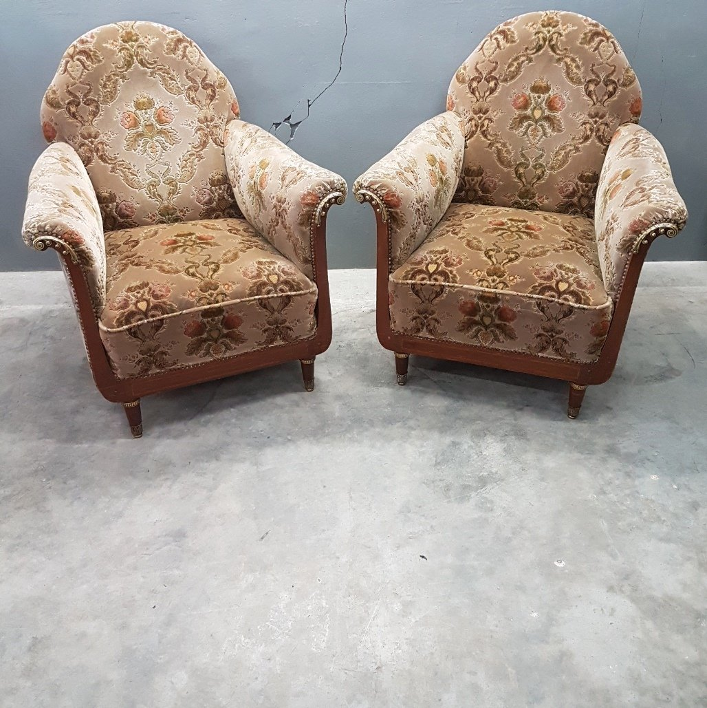 Antique Italian Velvet Club Chairs with Brass Elements & Nail Heads, 1900s,  Set of 2 - Antique Italian Velvet Club Chairs With Brass Elements & Nail Heads