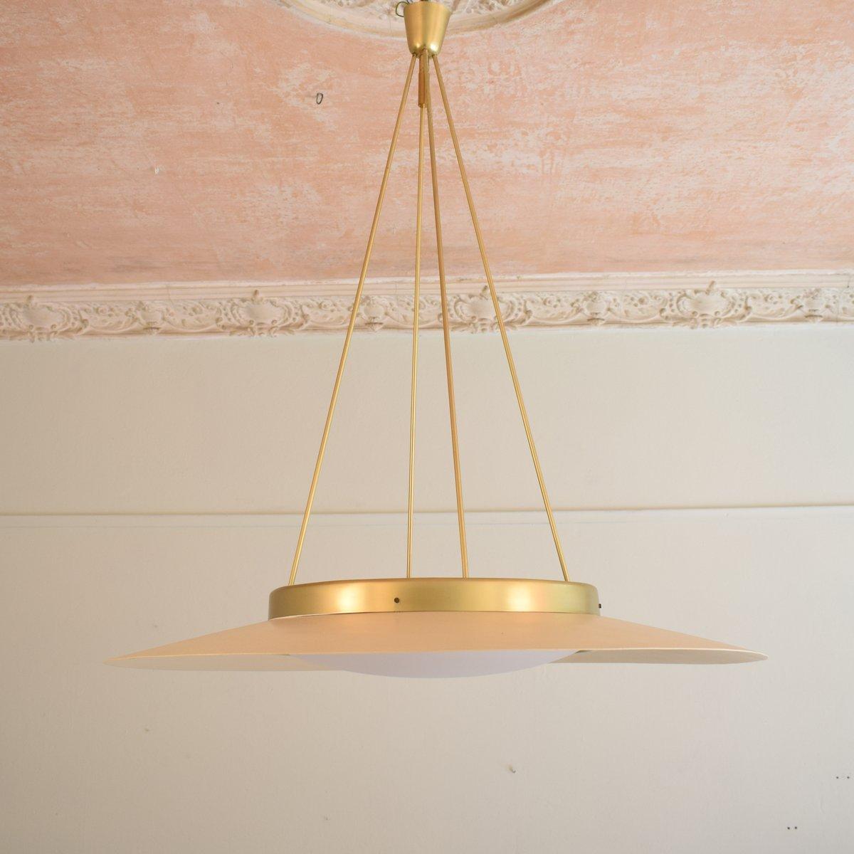 Italienische Deckenlampe aus lackiertem Metall & Messing, 1950er
