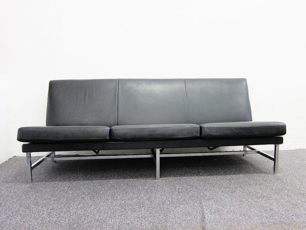 3 sitzer leder sofa von thonet 1960er bei pamono kaufen. Black Bedroom Furniture Sets. Home Design Ideas