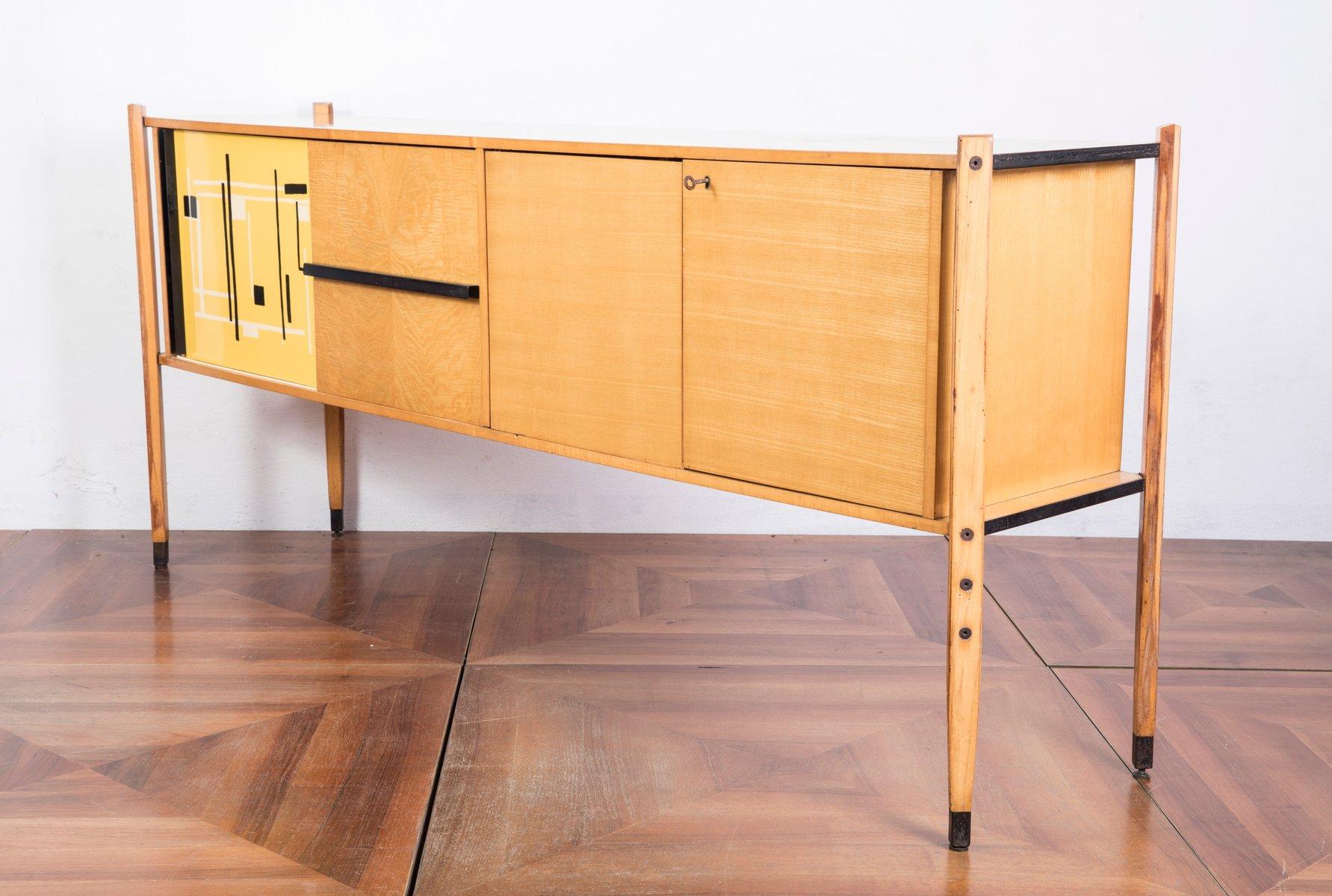italienisches eichenholz sideboard mit abstraktem muster von roberto aloi 1950er bei pamono kaufen. Black Bedroom Furniture Sets. Home Design Ideas