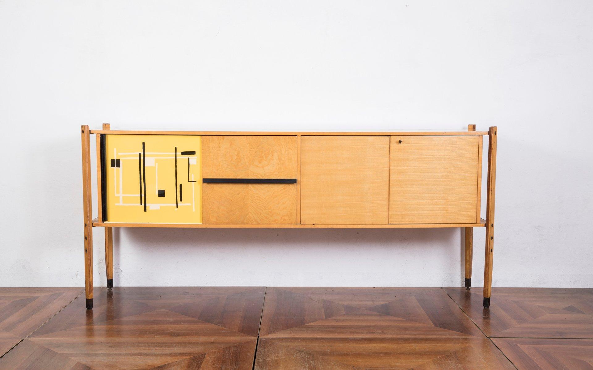 Italienisches Eichenholz Sideboard mit abstraktem Muster von Roberto A...