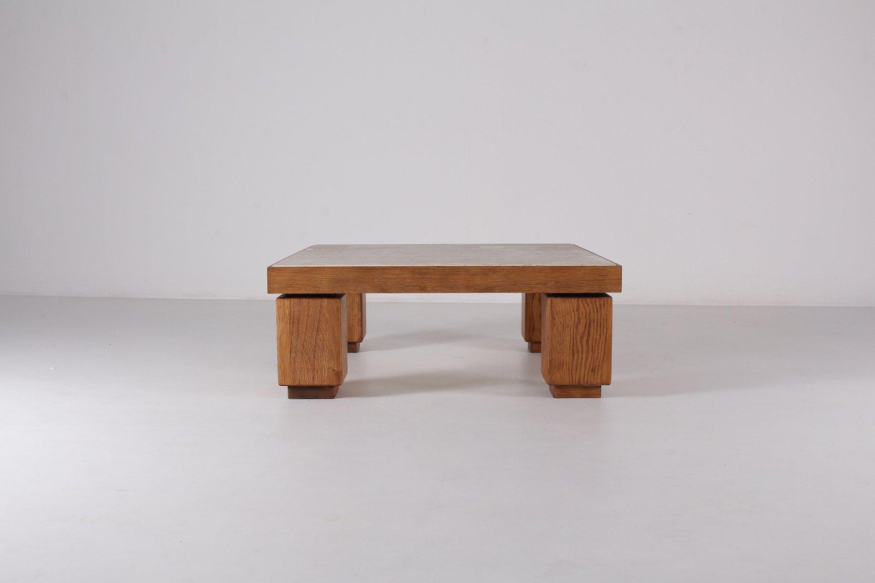 Table Basse Vintage en Chêne Clair avec Dalle de Travertin en vente ...