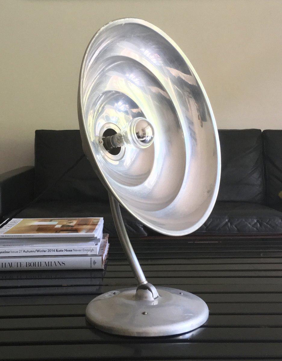 Aluminium Sonnen Tischlampe, 1940er