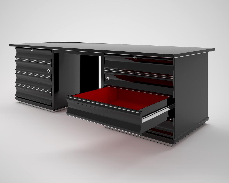 schwarzer art deco schreibtisch mit roten schubladen bei pamono kaufen. Black Bedroom Furniture Sets. Home Design Ideas