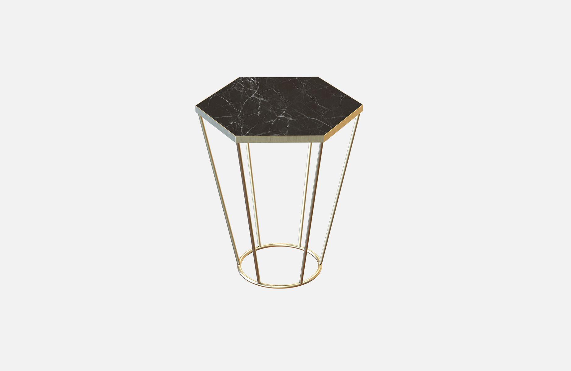 table d 39 appoint sei en laiton plaqu avec marbre noir par alex baser pour miist en vente sur pamono. Black Bedroom Furniture Sets. Home Design Ideas