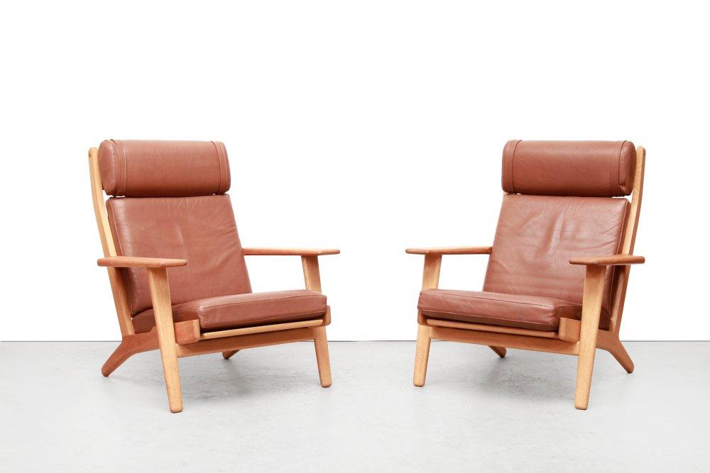 Modell GE290 Leder Sessel von Hans J. Wegner für Getama, 1960er, 2er S...