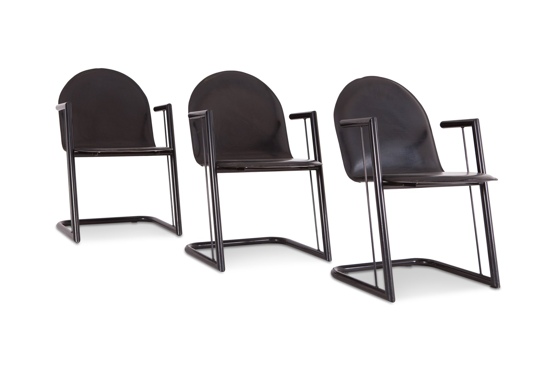 Vintage Black Leather Dining Chairs Set Of 6 For Sale At