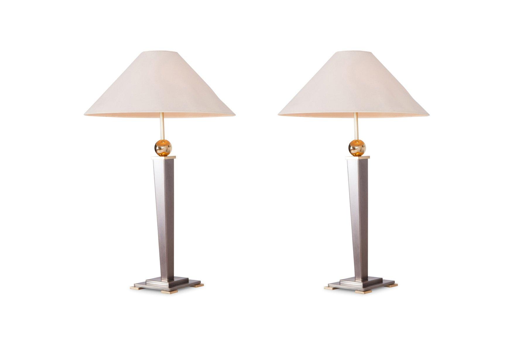 Vintage Tischlampen aus gebürstetem Stahl von Belgo Chrom, 2er Set