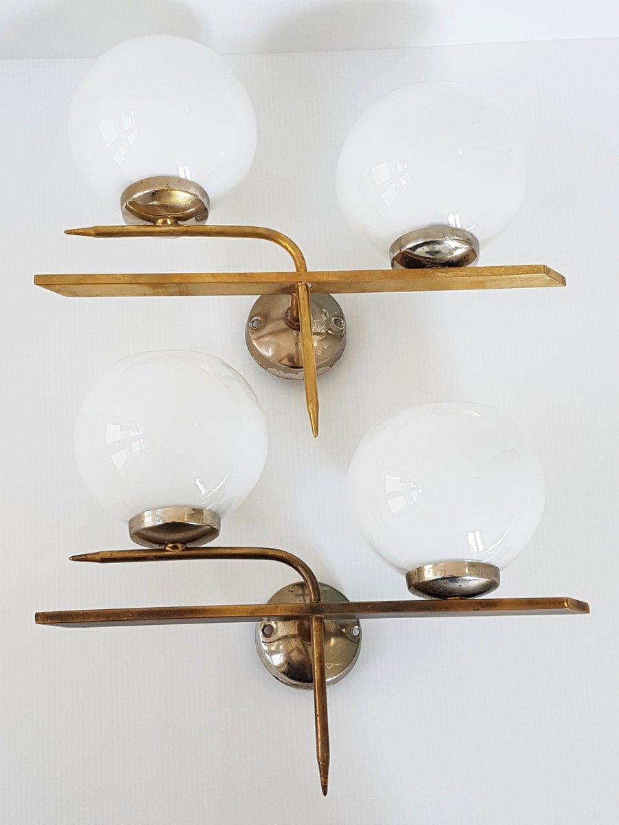 Französische Mid-Century Messing & Glas Wandlampen, 1950er, 2er Set