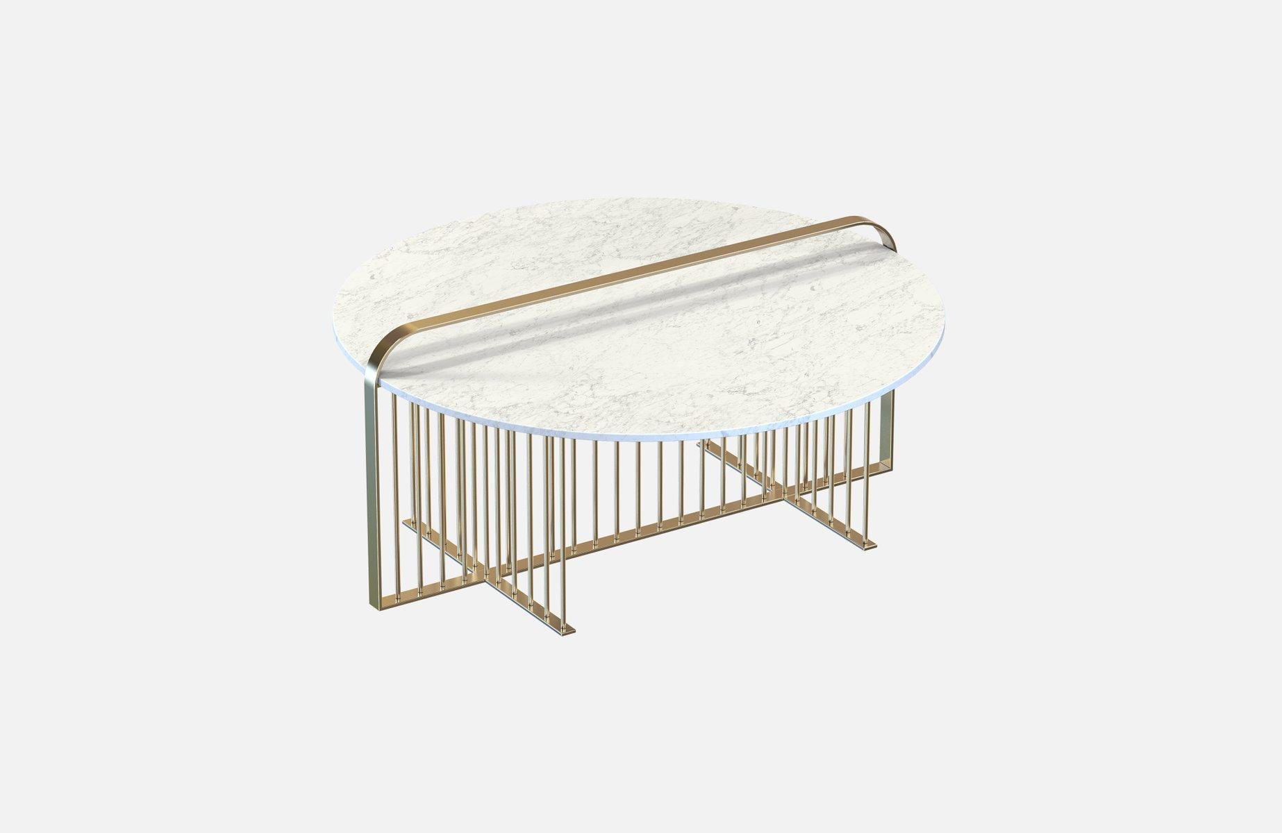 Vermessingter meister couchtisch mit wei er marmorplatte von alex baser f r miist bei pamono kaufen - Couchtisch mit marmorplatte ...