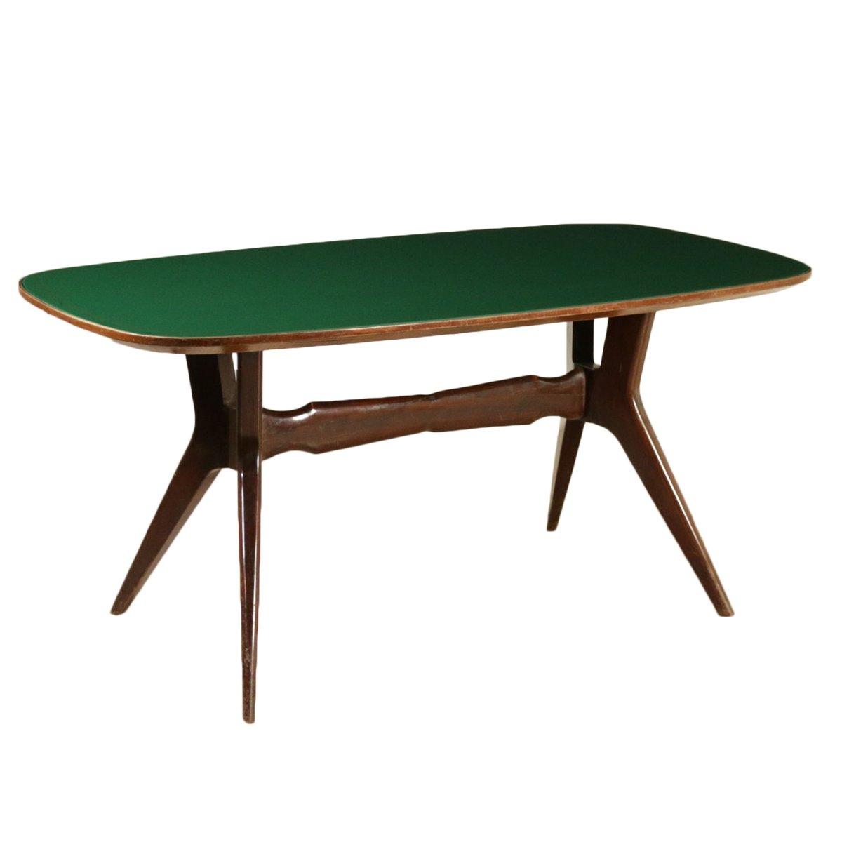 Mesa de comedor italiana vintage de madera teñida y vidrio retro en ...