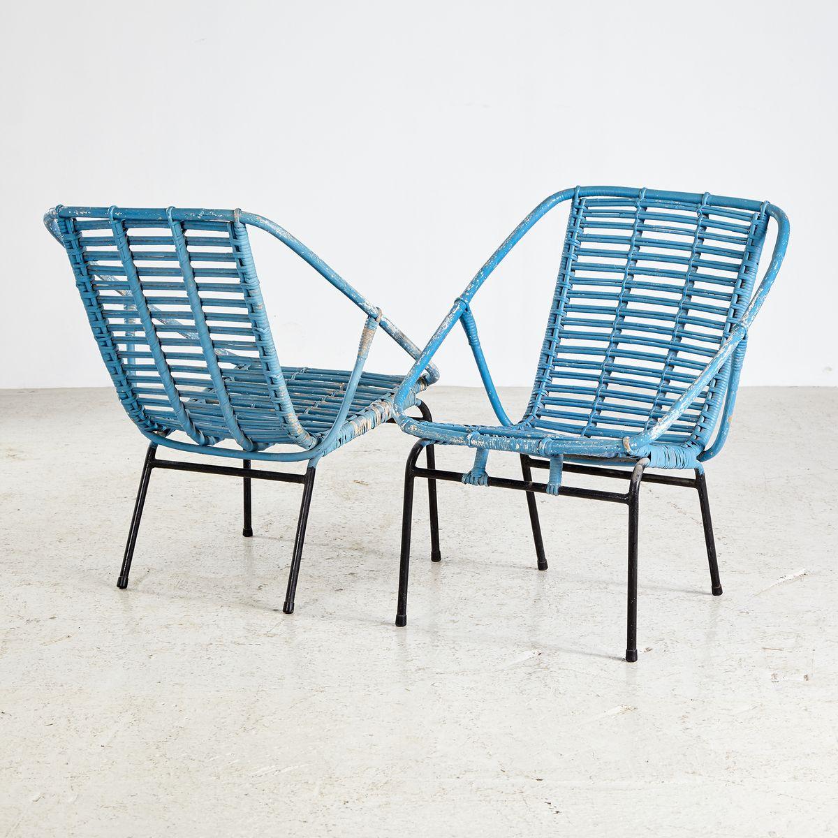 chaise de jardin en osier peint en bleu 1970s en vente sur pamono. Black Bedroom Furniture Sets. Home Design Ideas