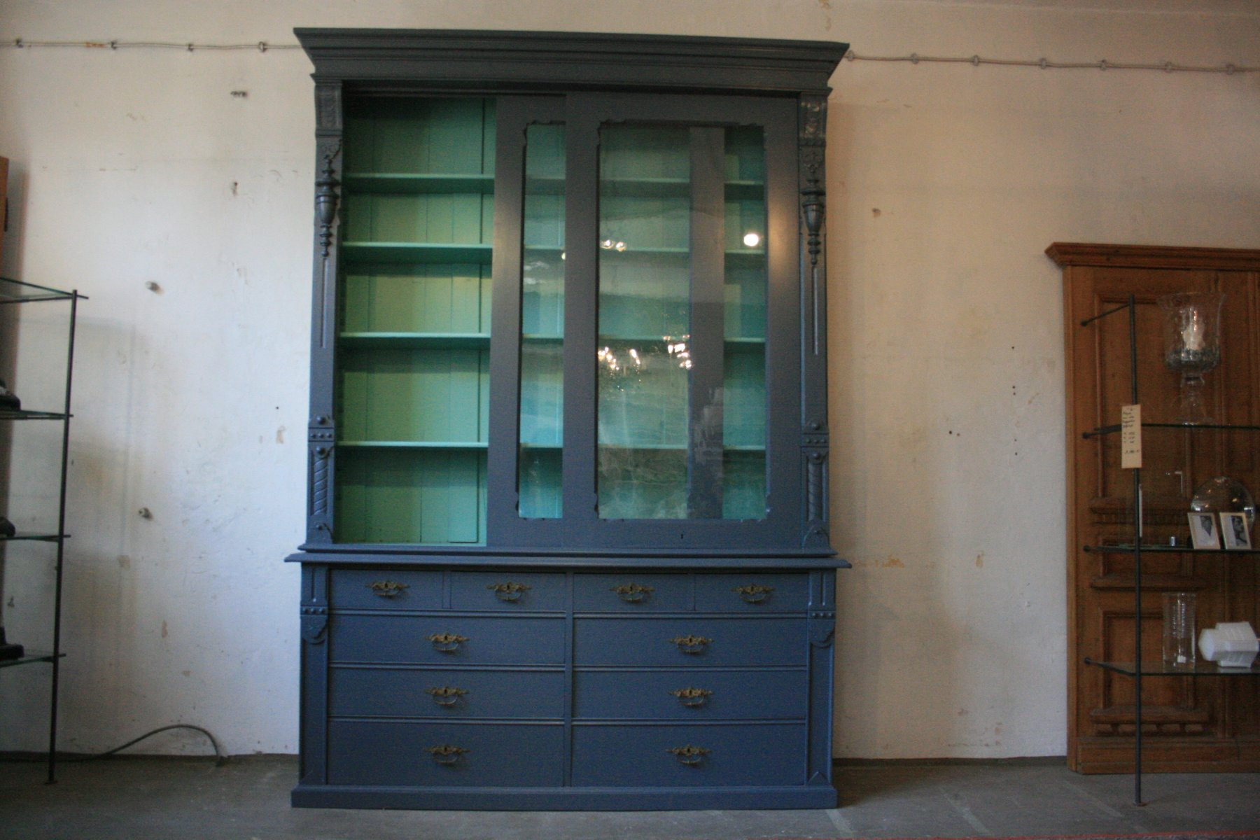 Large Antique Display Cabinet With Sliding Doors