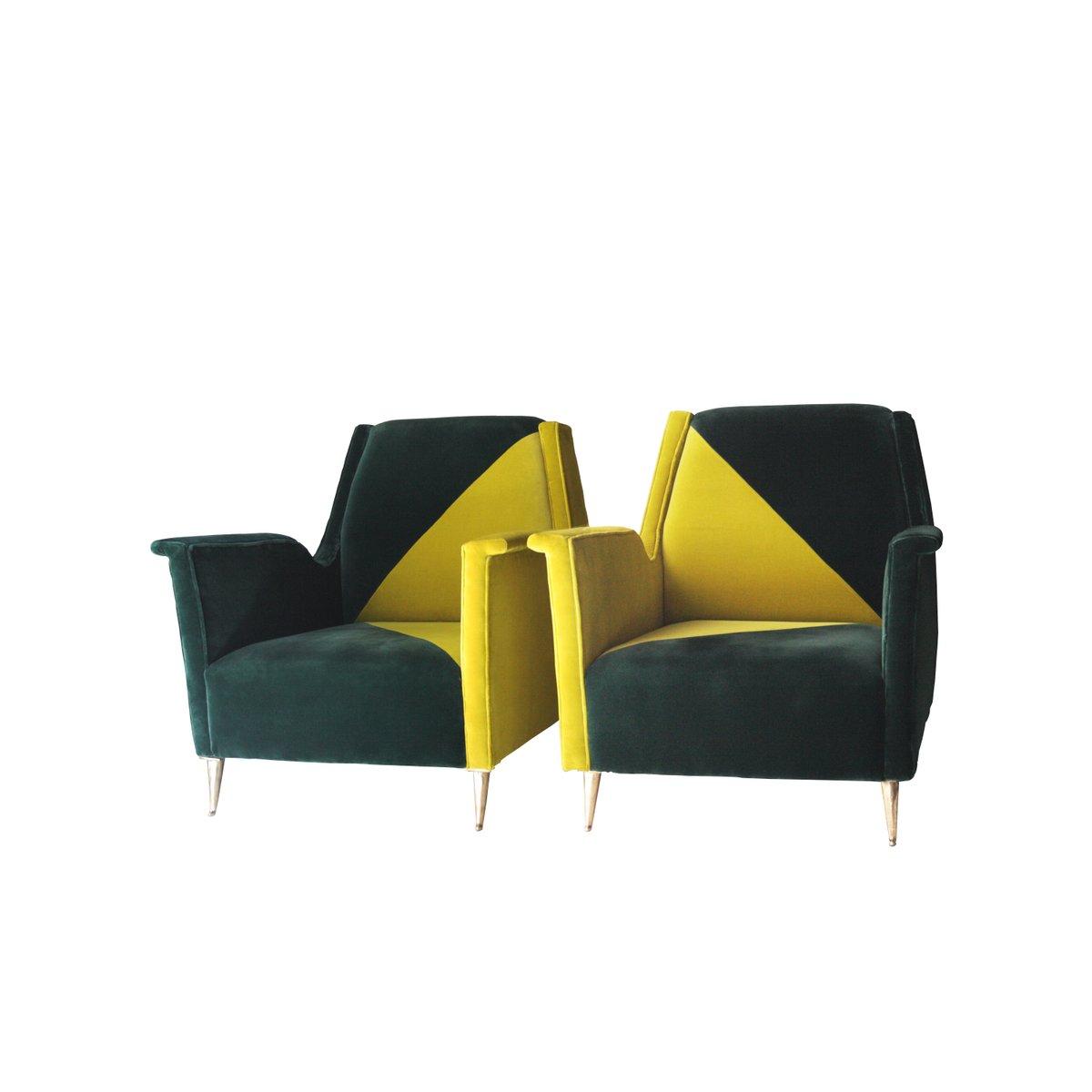 Italienischer zweifarbiger Samt Sessel, 1950er, 2er Set