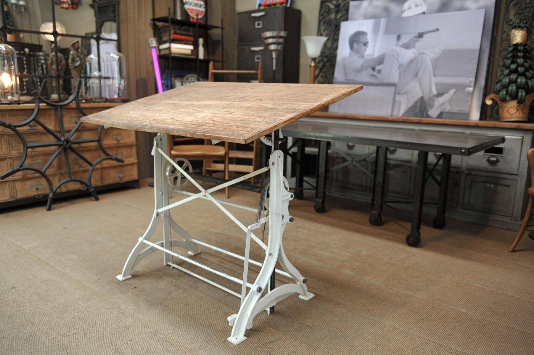 Tavolo Da Architetto Antico Regolabile In Ghisa Inizio Xx Secolo In