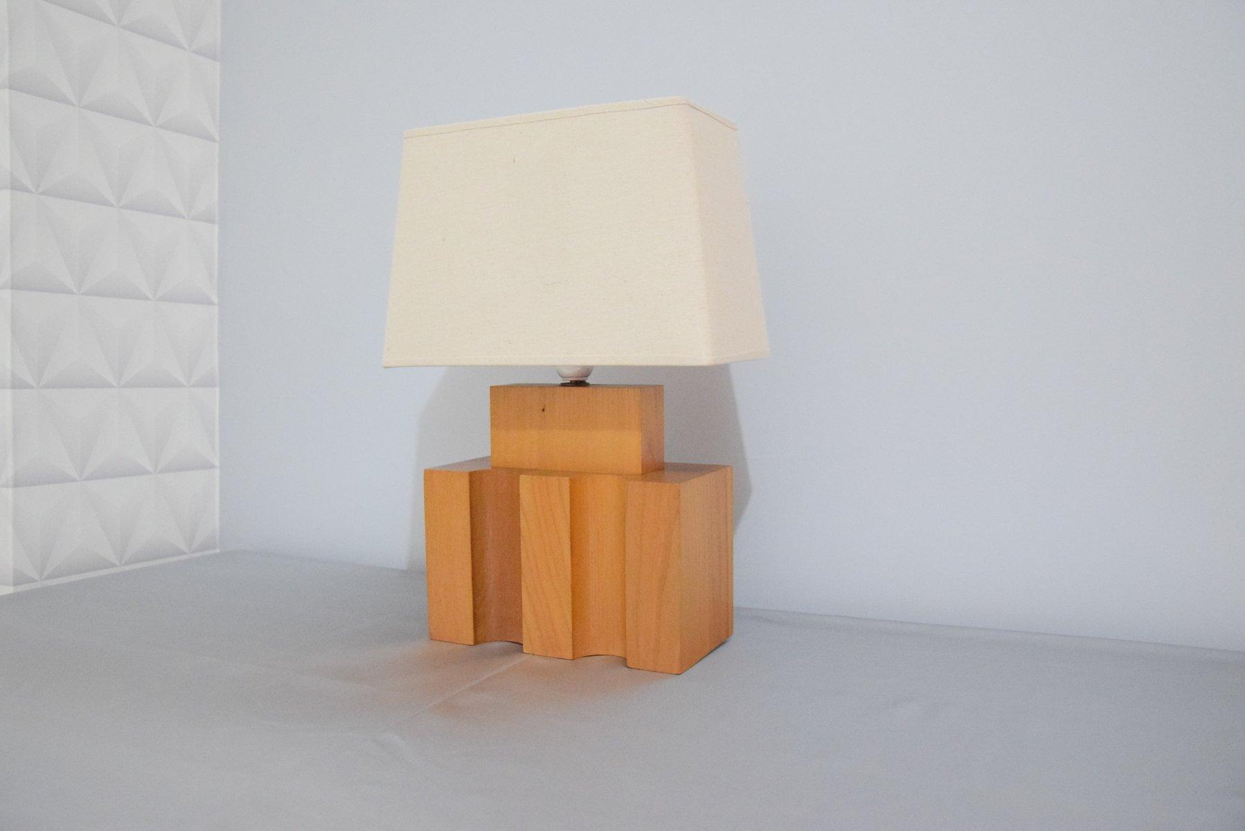 Brutalistische Vintage Ulmenholz Lampe von Maison Regain