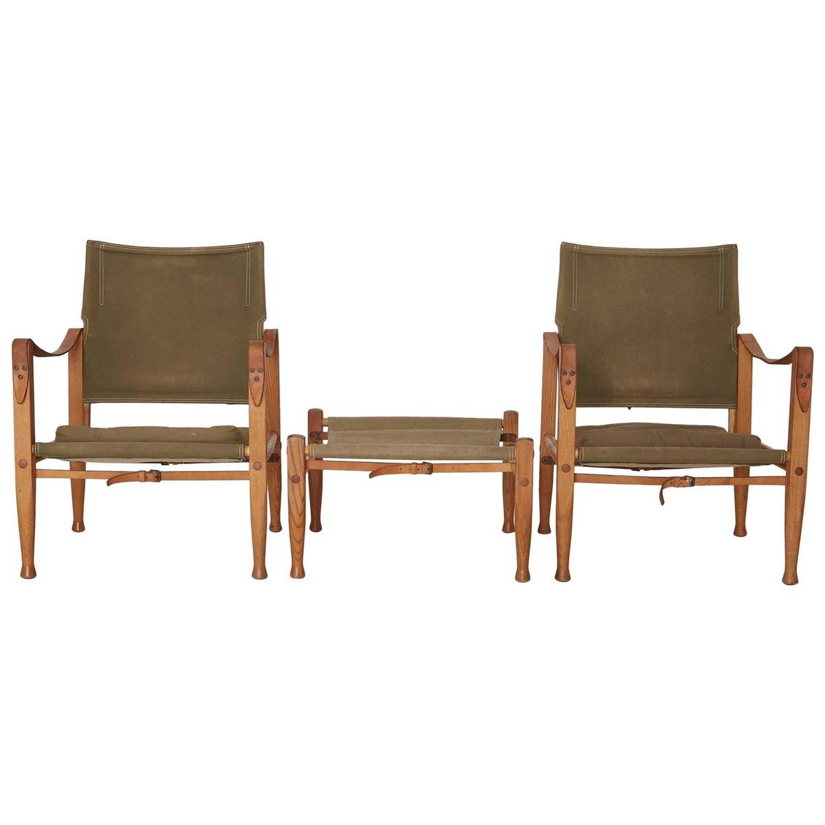 Safari Chairs und Hocker von Kaare Klint für Rud. Rasmussen, 1960er