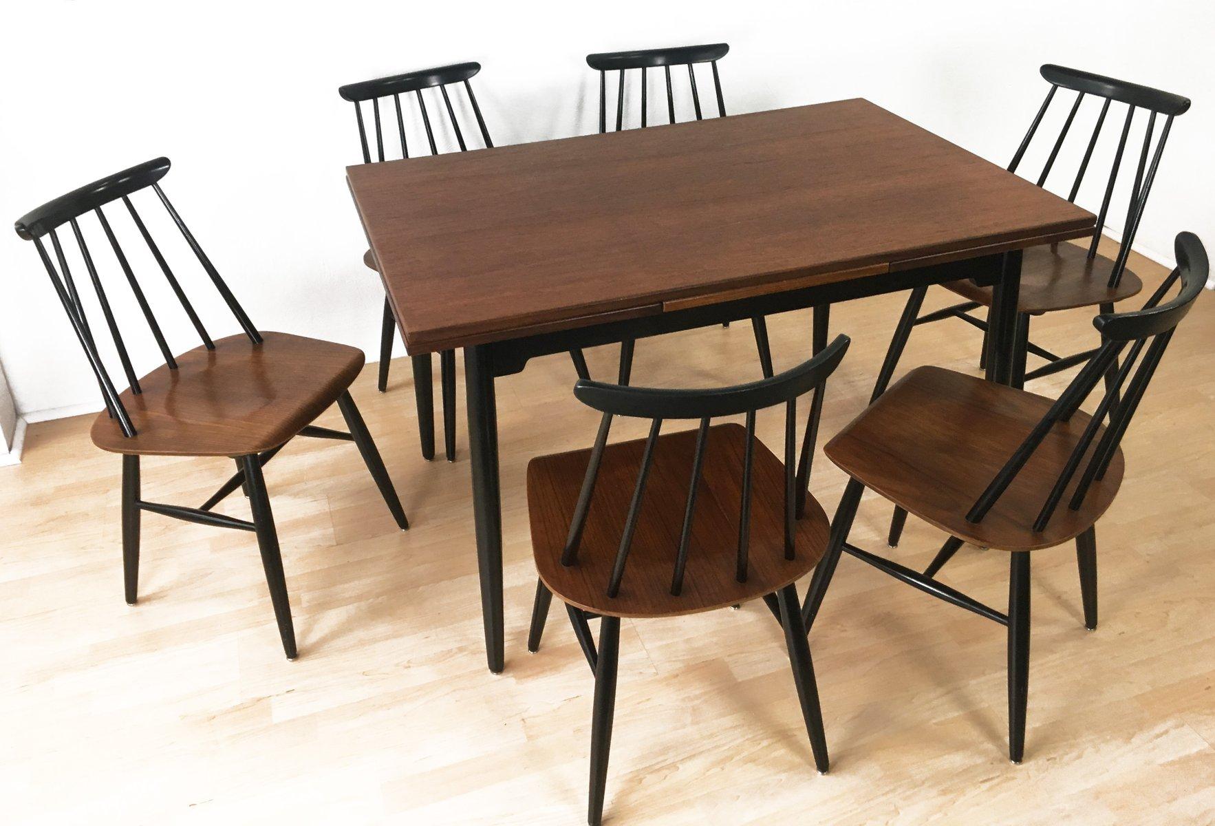 esstisch 6 st hle von ilmari tapiovaara f r asko 1960er bei pamono kaufen. Black Bedroom Furniture Sets. Home Design Ideas