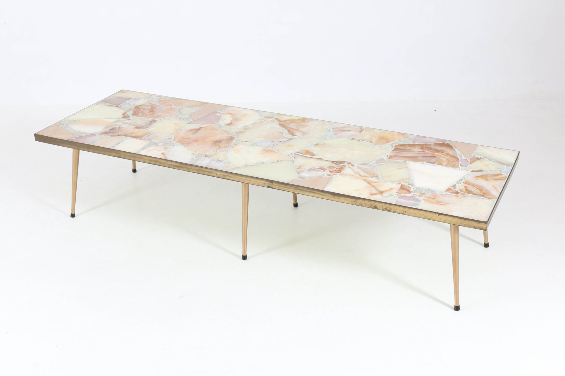 - Large Italian Mid-Century Modern Coffee Table With Onyx Top, 1950s