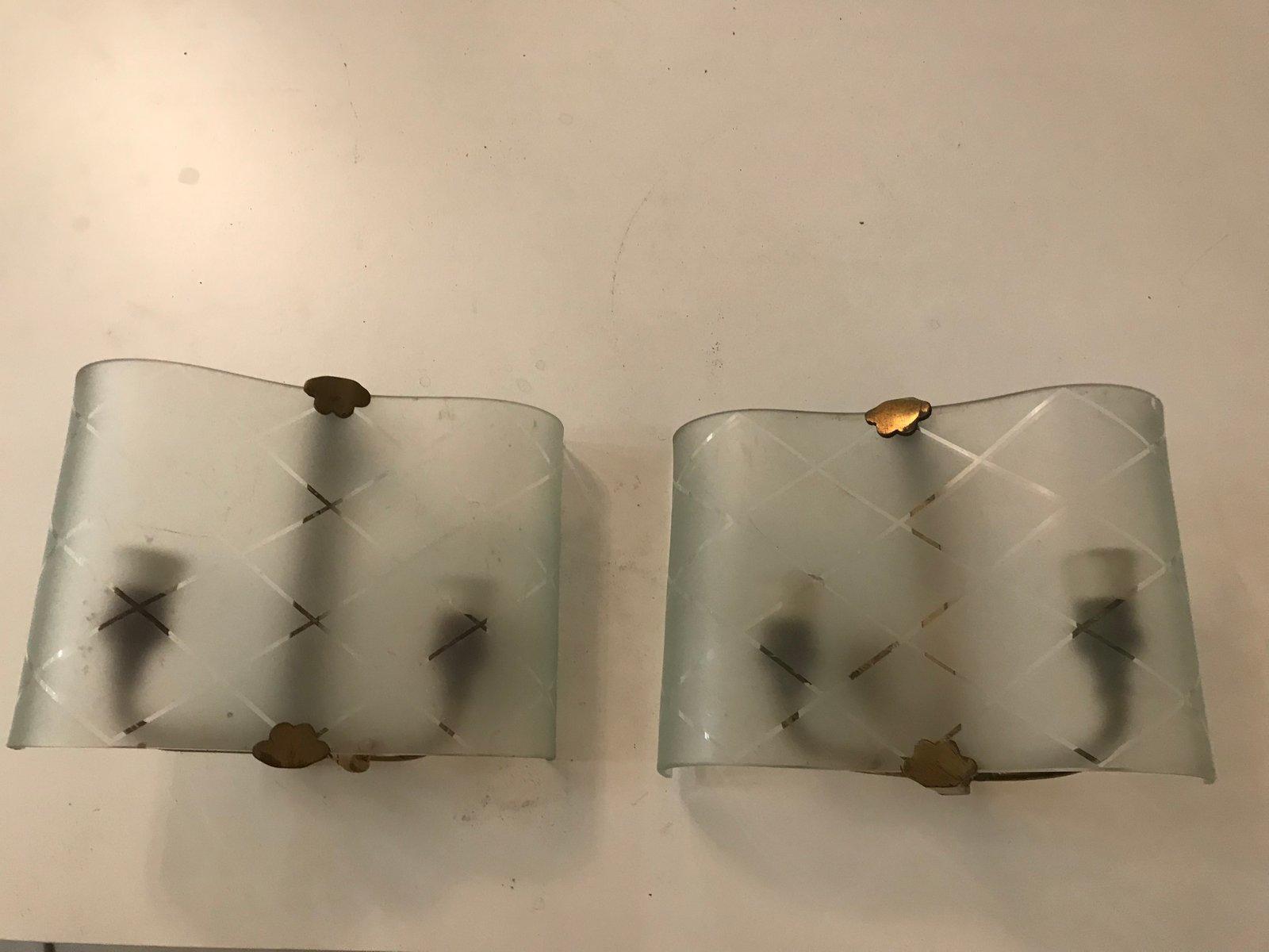 Glas Wandleuchten, 1940er, 2er Set