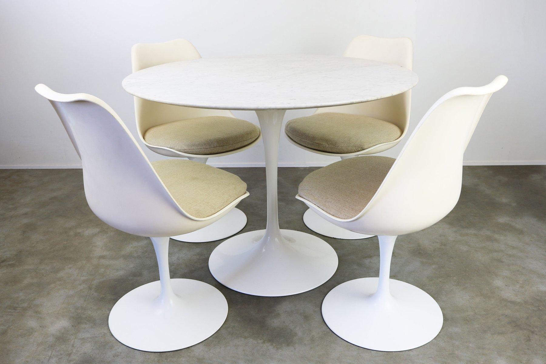 Tulip Esszimmer Set mit Marmor Tisch von Eero Saarinen für Knoll Inter...
