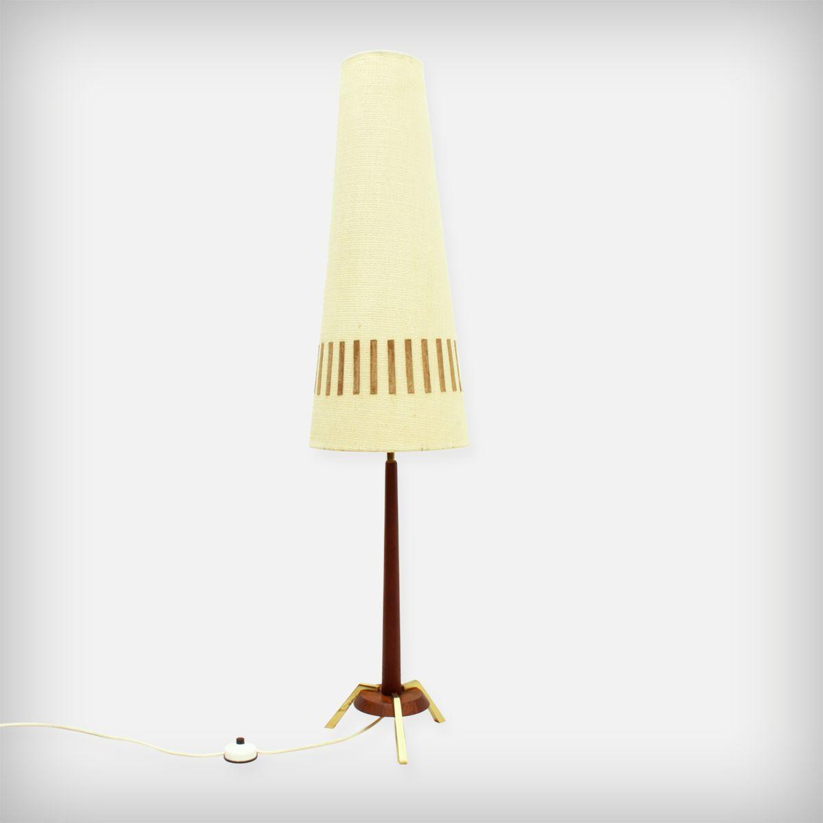 Teak Stehlampe mit Messing & Leder Details, 1960er