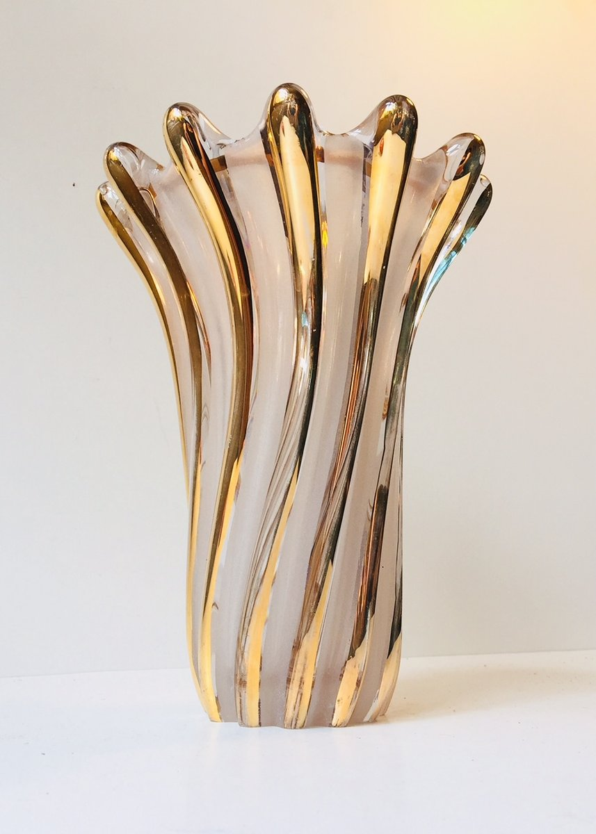 italienische murano glas vase mit goldglasur 1960er bei pamono kaufen. Black Bedroom Furniture Sets. Home Design Ideas