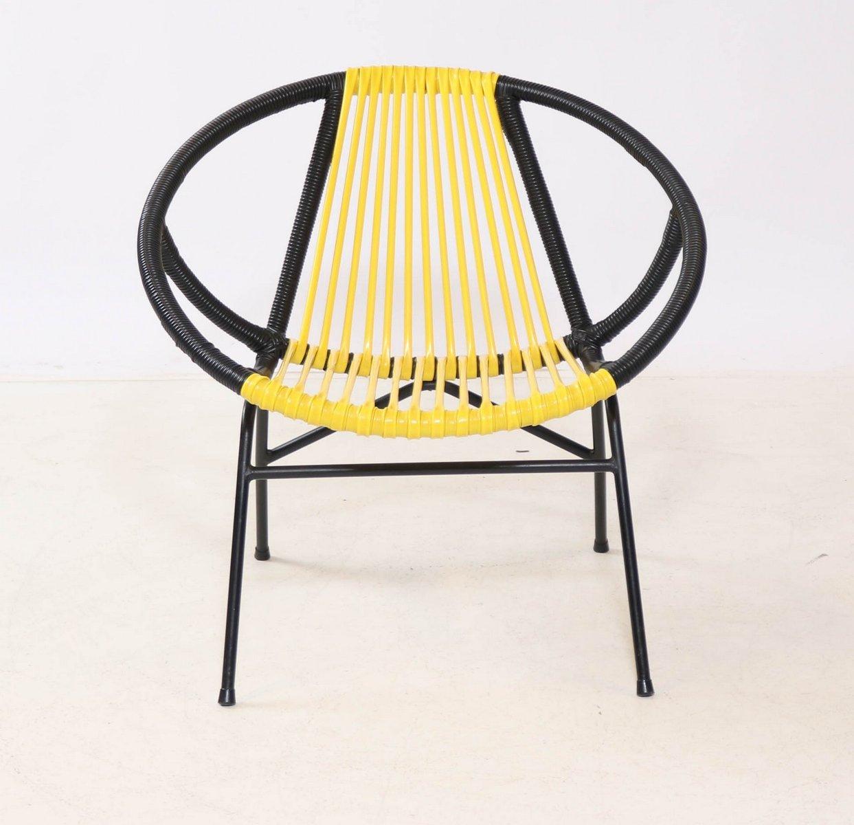 fauteuil vintage jaune and noir en vente sur pamono. Black Bedroom Furniture Sets. Home Design Ideas