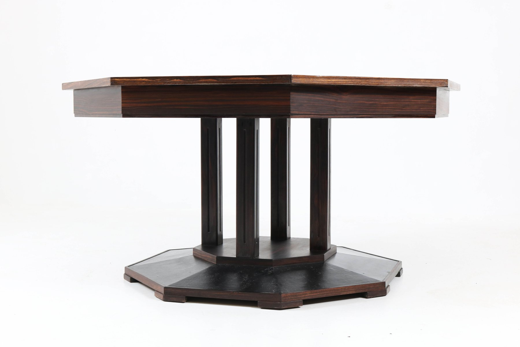 Art Deco Dutch Macassar Ebony Center Table From T Woonhuys 1930s