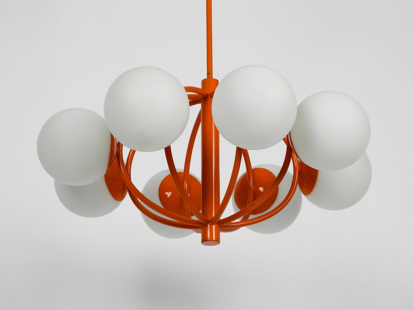 orange space age lamp with 8 opal glass globes from kaiser idell 1960s for sale at pamono. Black Bedroom Furniture Sets. Home Design Ideas