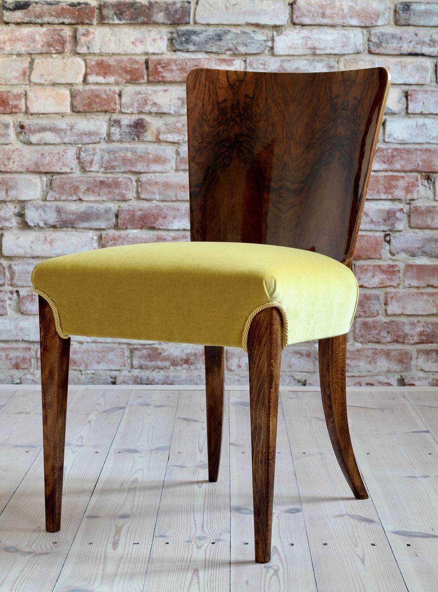 Art Deco Model H-214 Dining Chairs by Jindřich Halabala, 1930s, Set ...