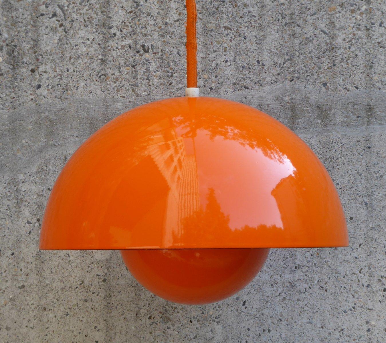 Orange Flowerpot Lampe von Verner Panton für Louis Poulsen