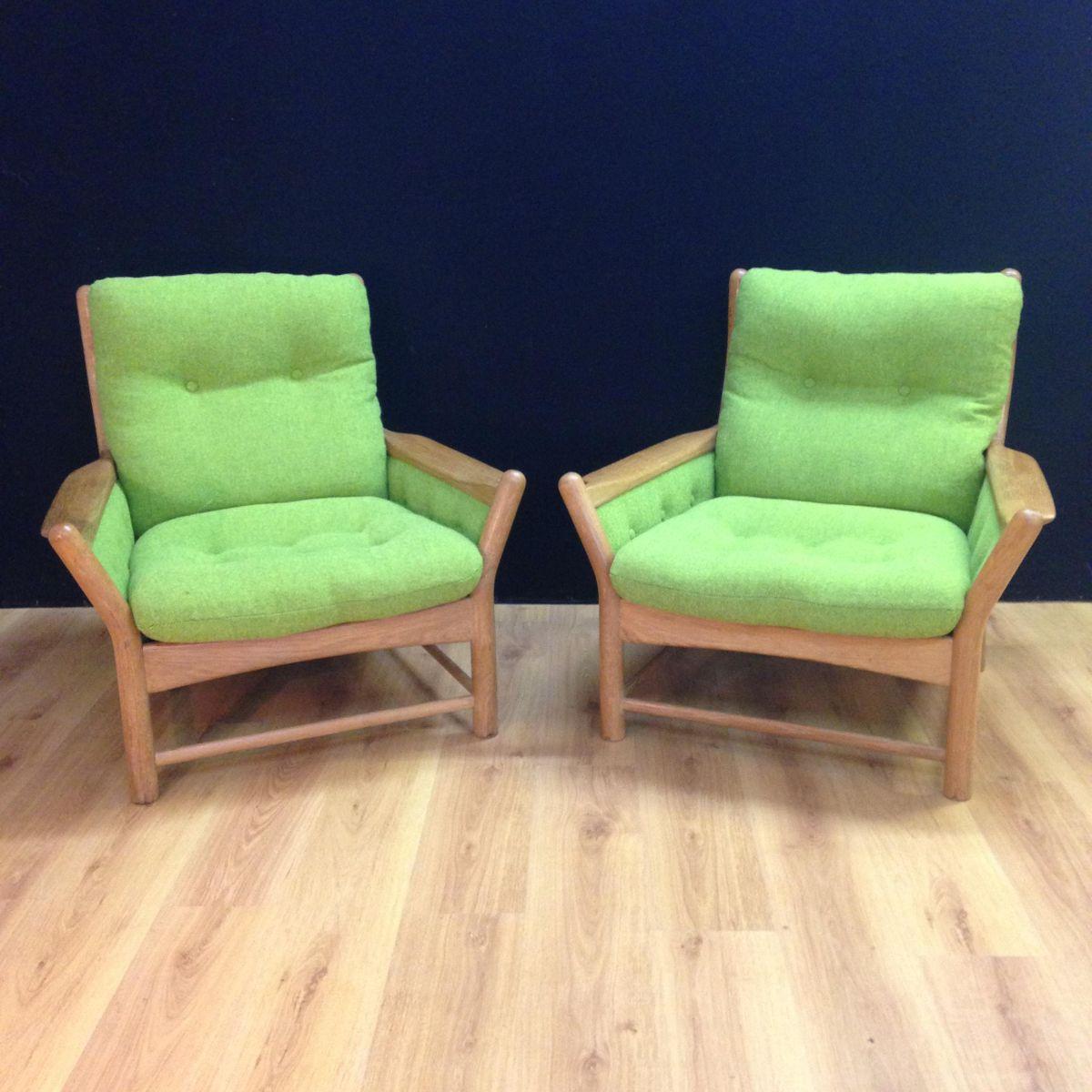Grüne Sessel, 1970er, 2er Set