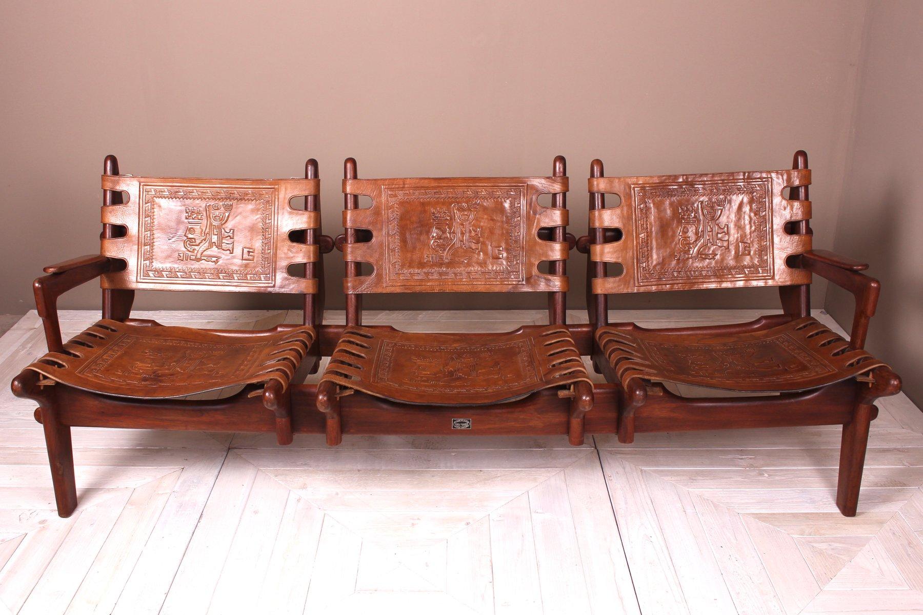 Ecuadorian Rosewood Leather Three Seater Sofa By Angel I Pazmino For Muebles De Estilo 1960s